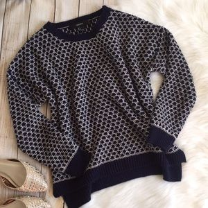 Forever 21   Navy & White Chunky Sweater